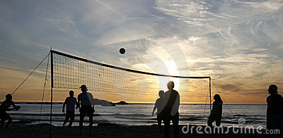 Beach volleyball sunset 1