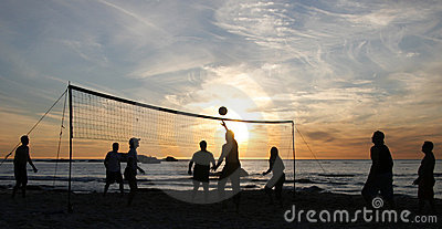 Beach volleyball sunset 3