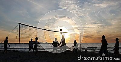 Beach volleyball sunset 3