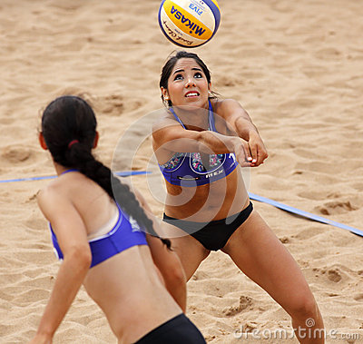 Beach Volleyball Woman Mexico Pass Ball Editorial Photo