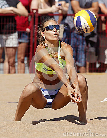 Beach Volleyball Woman Russia Ball Editorial Photography