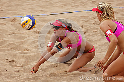 Beach Volleyball Woman Switzerland Ball Editorial Photography