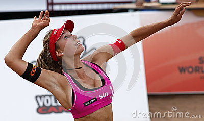 Beach Volleyball Woman Switzerland Hit Editorial Stock Image