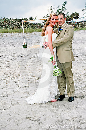 Beach Wedding: Bride and Groom
