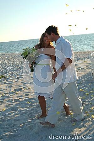 Beach wedding couple just married