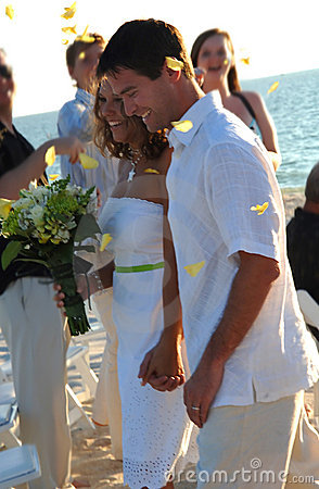 Beach wedding couple just married