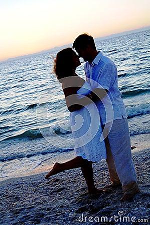 Beach wedding couple silhouette
