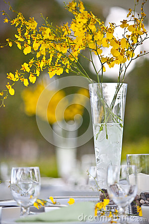 Beach wedding decor table setting and flowers