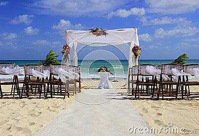 Beach wedding preparation