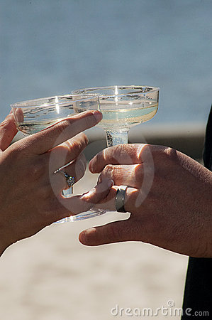 Beach wedding toast