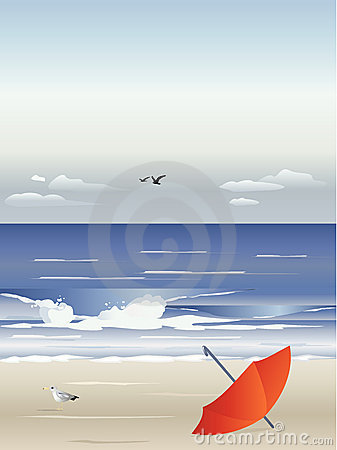 Beach with windblown umbrella