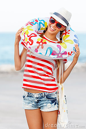 Free Beach Woman Happy And Colorful Wearing Sunglasses And Beach Hat Having Summer Fun During Travel Holidays Vacation Stock Photo - 51108060