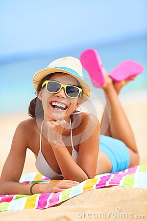 Free Beach Woman Laughing Fun In Summer Royalty Free Stock Photography - 28999457