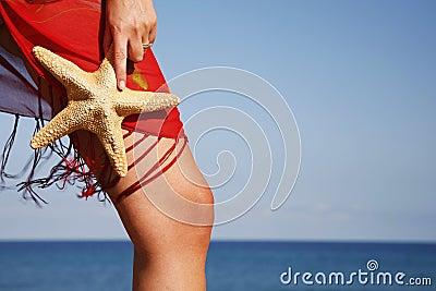 Beach Woman with Starfish