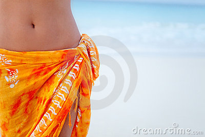 Beach woman wearing a sarong