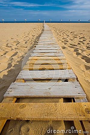 Beach wood walkway