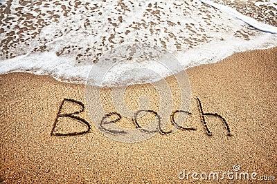 Beach word on the sand
