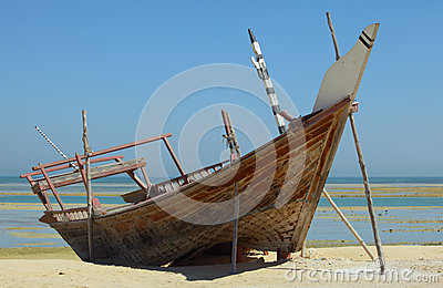 Beached dhow at Wakrah