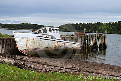 Beached Maritime fishing boat