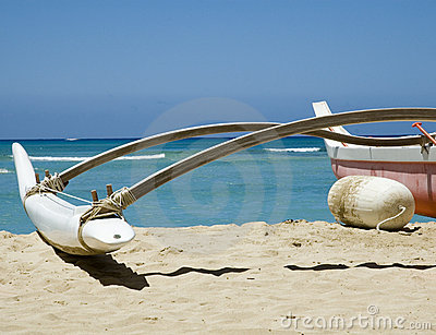 Beached Outrigger Canoe