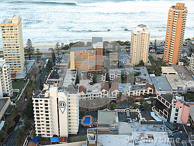 Beachfront resorts in Surfers Paradise aerial image Editorial Stock Photo