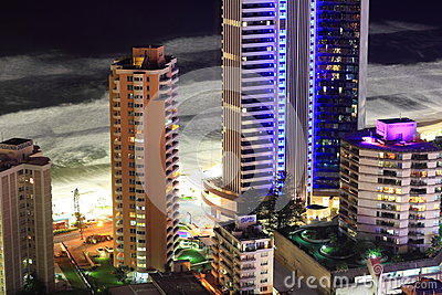 Beachfront tower buildings aerial view at night Editorial Stock Photo