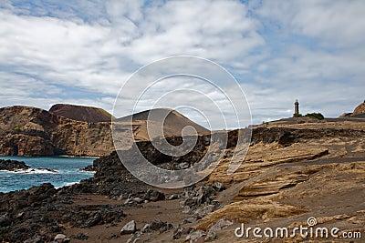 Beacon Capelinhos on island Faial, Azores
