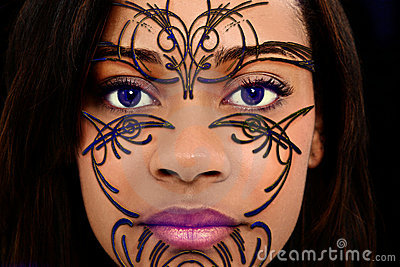 Beaded Henna Art on Beautiful Woman Face