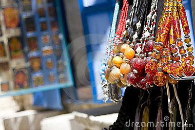 Beaded necklaces in the street market