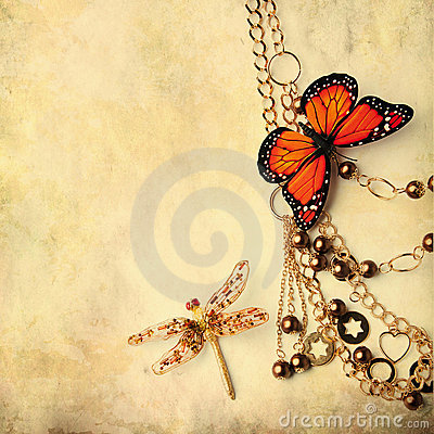 Free Beads With Butterfly And Dragonfly Stock Photography - 21680642