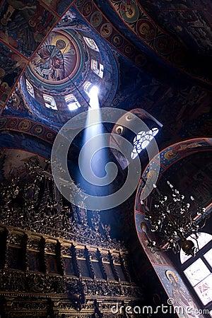 Beam of light in church