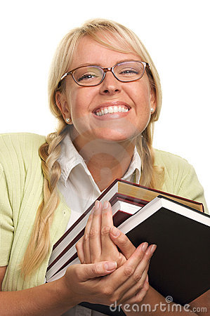 Free Beaming Woman Carries Stack Of Books Stock Photos - 5767613