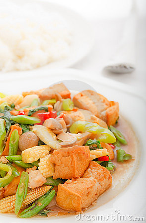 Bean curd fried with vegetables in Thai style food