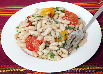 Bean salad and fork