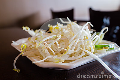 Bean sprouts on plate