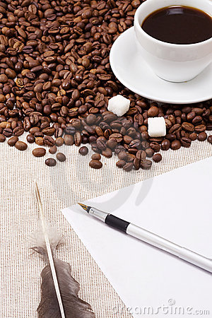Free Beans And Paper With Pen Stock Photos - 15724643