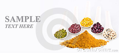 Beans and curry powder with input sample text
