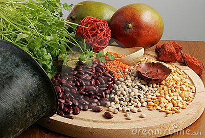 Beans greens and raw foods