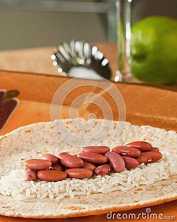 Beans rice tortilla lime