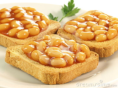 Beans on toast, closeup