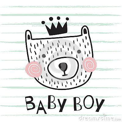 Bear baby boy Vector Illustration