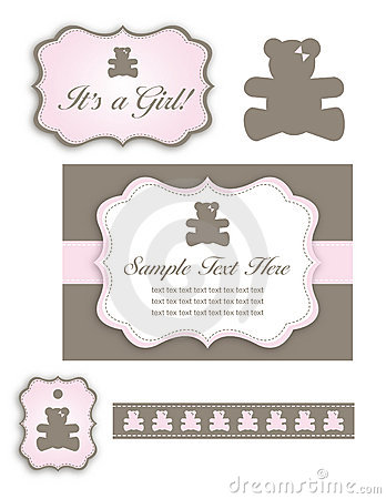 Bear Baby Girl Shower Set of Icons and Tags