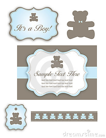 Bear Baby Shower Set of Icons and Tags