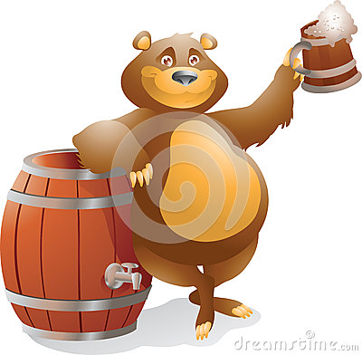 Bear with beer smiling
