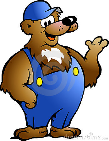 Bear in Blue Overalls