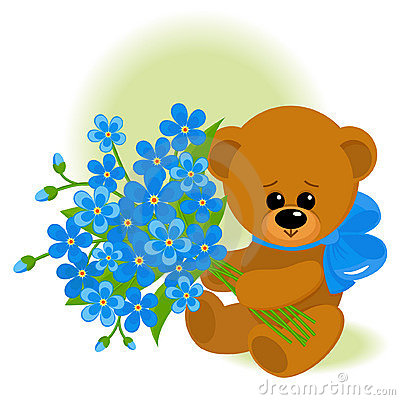 Bear with bouquet