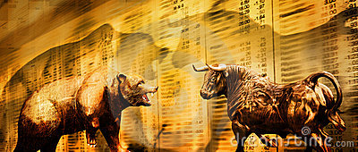 Bear And Bull Stock Market Stock Image - Image: 21042281
