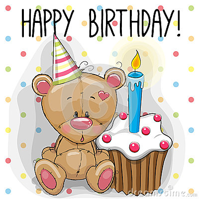 Bear with cake Vector Illustration