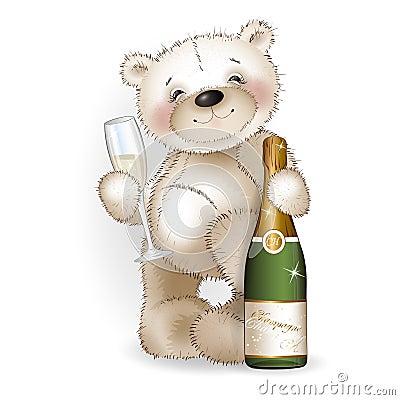 bear-champagne-white-background-47518186