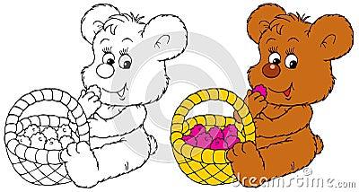Bear-cub eats the ripe berry